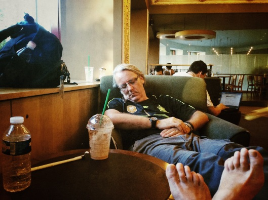 Wayne napping in Starbucks