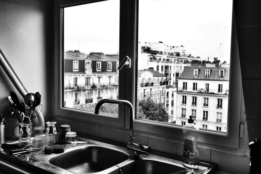 The kitchen sink. The tap would fold down into the sink to open the windows